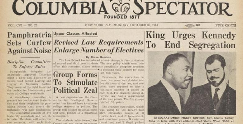 "A clipping from the front page of the Monday, October 26, 1961 edition of The Columbia Spectator, featuring the headline ""King Urges Kennedy to End Segregation"""